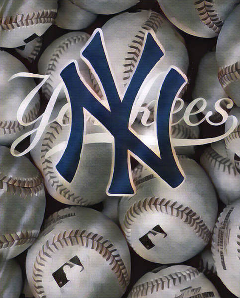 Wall Art - Mixed Media - New York Yankees Abstract Art 1 by Joe Hamilton