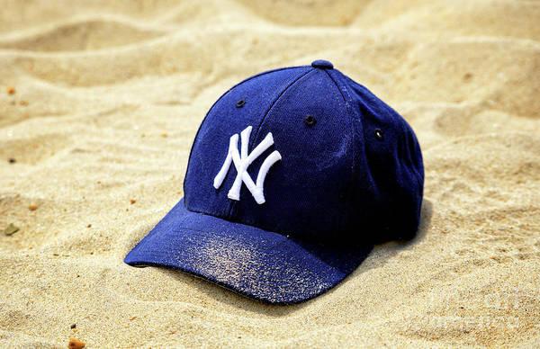 Wall Art - Photograph - New York Yankees Beach Cap by John Rizzuto