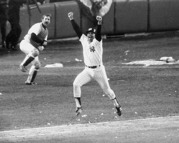 Photograph - New York Yankees Chris Chambliss Jumps by New York Daily News Archive