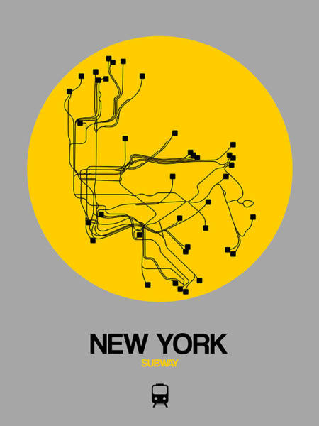 Wall Art - Digital Art - New York Yellow Subway Map by Naxart Studio