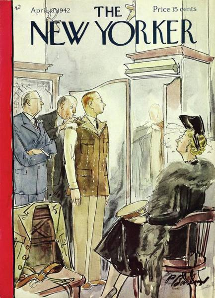 Mother Painting - New Yorker April 18th 1942 by Perry Barlow