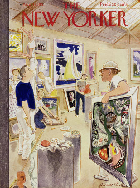 Town Painting - New Yorker August 11, 1951 by Garrett Price