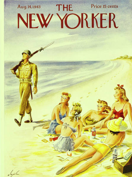 Swimsuit Painting - New Yorker August 14th 1943 by Constantin Alajalov