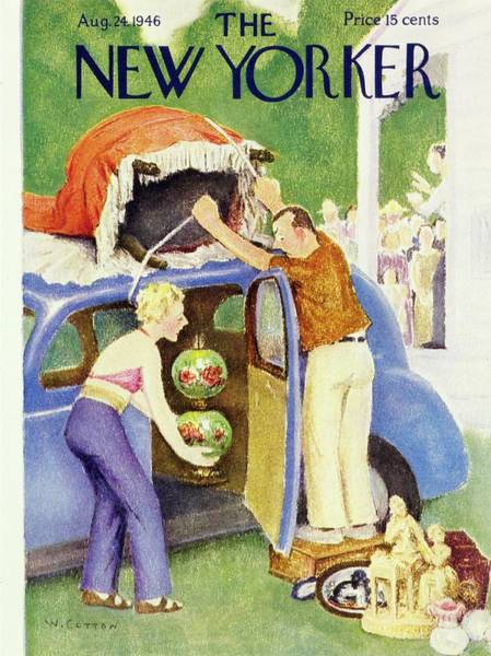 Antique Furniture Painting - New Yorker August 24th 1946 by William Cotton