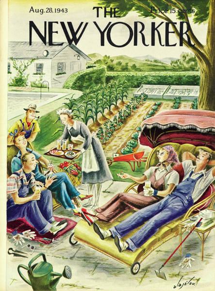 Vegetables Painting - New Yorker August 28th 1943 by Constantin Alajalov