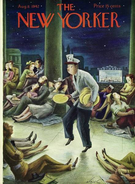 Evening Painting - New Yorker August 8th 1942 by Constantin Alajalov