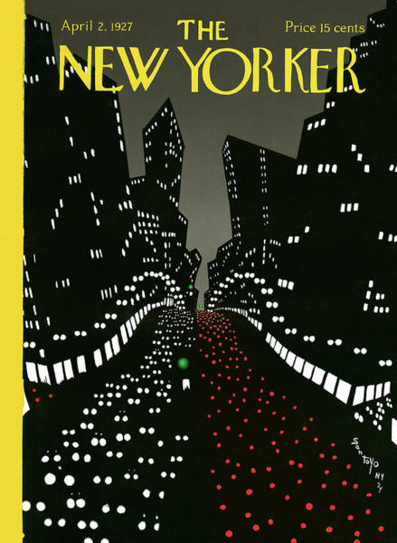 New York City Skyline Painting - New Yorker Cover - April 2 1927 by Matias Santoyo
