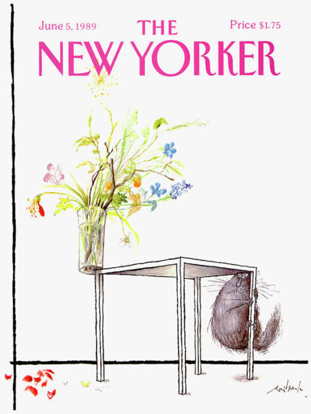 Flower Drawing - New Yorker Cover June 5 1989 by Ronald Searle