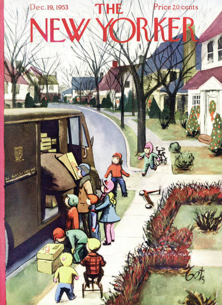Town Painting - New Yorker December 19, 1953 by Arthur Getz