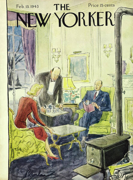 Interiors Painting - New Yorker February 13th 1943 by Perry Barlow