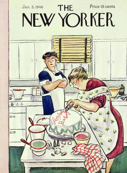 Kitchen Painting - New Yorker January 5th 1946 by Helene E Hokinson