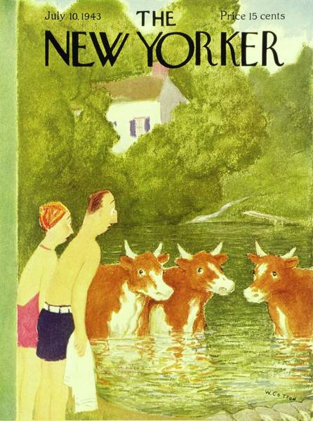 Summer Vacation Painting - New Yorker July 10th 1943 by William Cotton