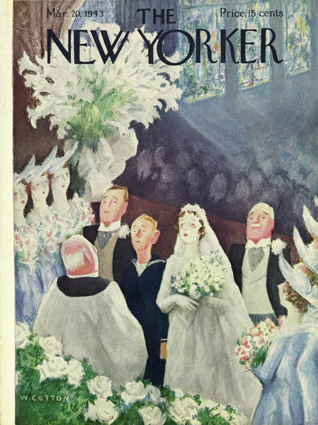 Marriage Painting - New Yorker March 20th 1943 by William Cotton