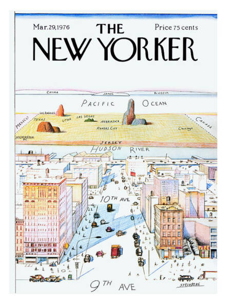 New York City Skyline Painting - New Yorker March 29, 1976 by Saul Steinberg