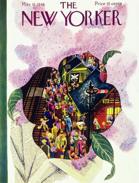 Father Painting - New Yorker May 18th 1946 by Ilonka Karasz