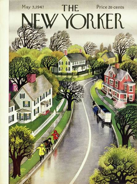 Suburban Painting - New Yorker May 3rd 1947 by Edna Eicke