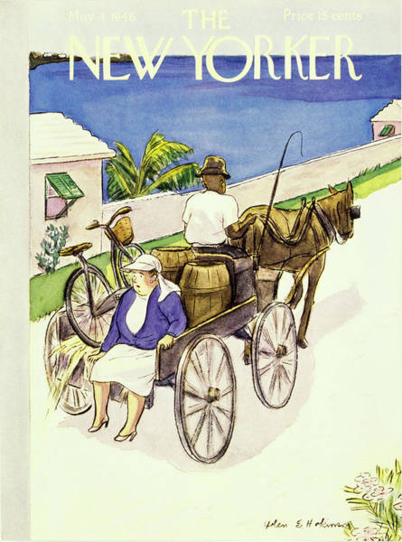 Bicycle Painting - New Yorker May 4 1946 by Helene E Hokinson