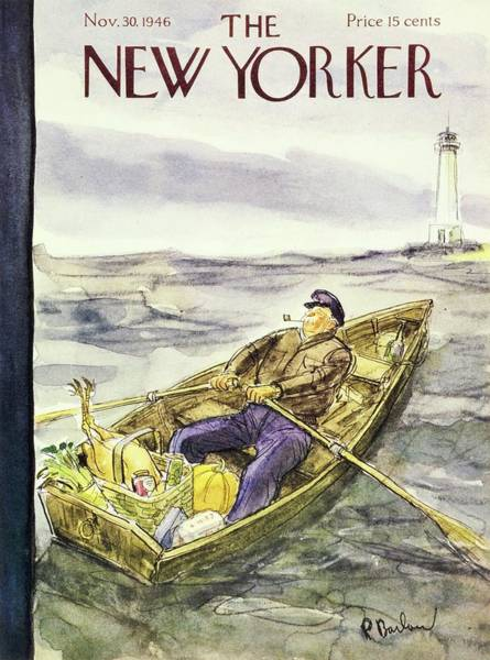 Rowing Painting - New Yorker November 30th 1946 by Perry Barlow