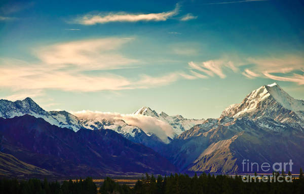Horizontally Photograph - New Zealand Scenic Mountain Landscape by Naughtynut