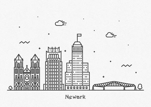 Wall Art - Drawing - Newark Cityscape Travel Poster by Inspirowl Design