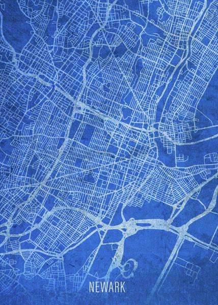 Wall Art - Mixed Media - Newark New Jersey City Street Map Blueprints by Design Turnpike