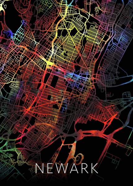 New Jersey Mixed Media - Newark New Jersey City Watercolor Street Map Dark Mode by Design Turnpike