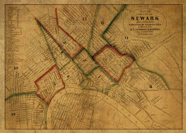 New Jersey Mixed Media - Newark New Jersey Vintage City Street Map 1859 by Design Turnpike