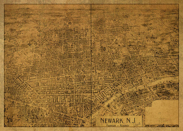 Wall Art - Mixed Media - Newark New Jersey Vintage City Street Map 1895 by Design Turnpike