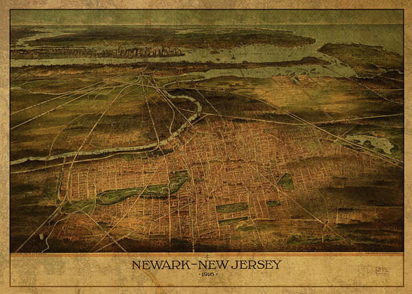 New Jersey Mixed Media - Newark New Jersey Vintage City Street Map 1916 by Design Turnpike