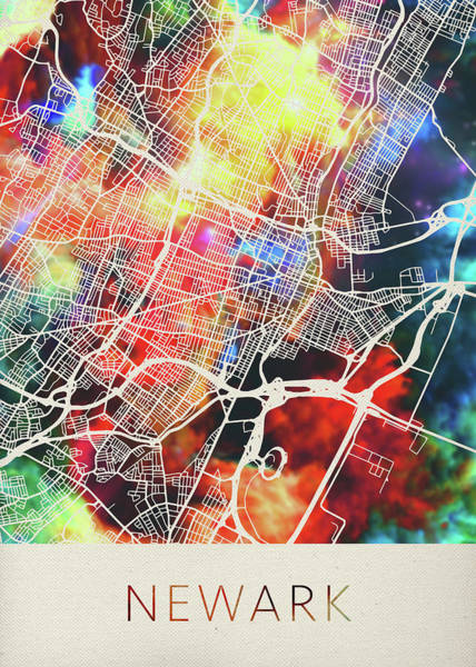 New Jersey Mixed Media - Newark New Jersey Watercolor City Street Map by Design Turnpike