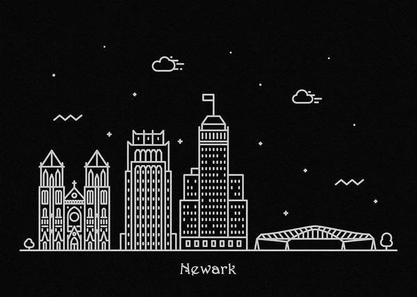Wall Art - Digital Art - Newark Skyline Travel Poster by Inspirowl Design