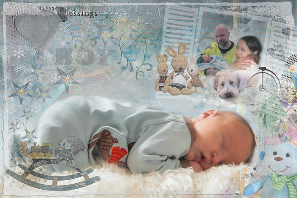 Digital Art - Newborn Baby Memoir by Jacqui Boonstra