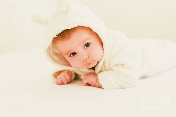 Photograph - Newborn Blonde Baby 3 Months Old Lying On Her Stomach And Head Raised by Joaquin Corbalan