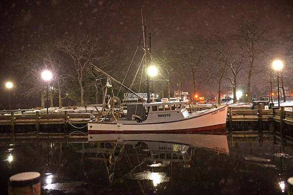 Photograph - Newburyport Ma Snowstorm At Night Merrimac River Boat Reflection by Toby McGuire