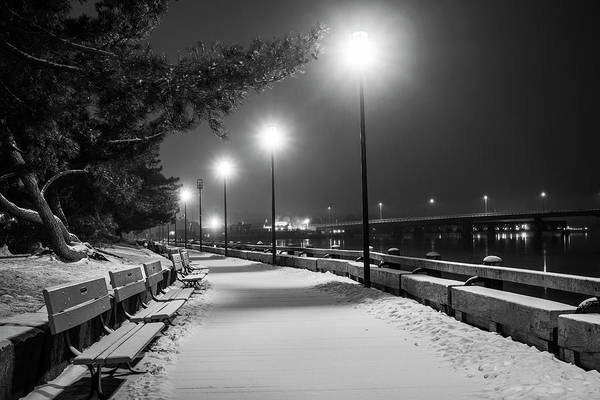 Photograph - Newburyport Ma Snowstorm At Night Merrimac River Lights Black And White by Toby McGuire