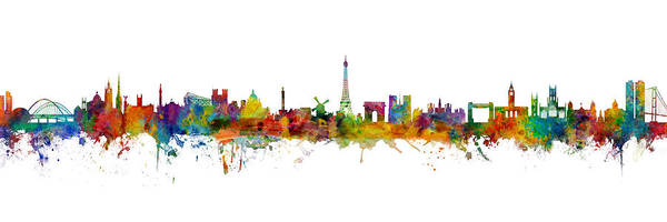 Wall Art - Digital Art - Newcastle, Paris And Kingston Upon Hull Skyline Mashup by Michael Tompsett