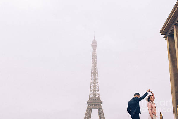 Newly-wed Couple On Their Honeymoon In Paris, Loving Having A Date Near The Eiffel Tower Art Print