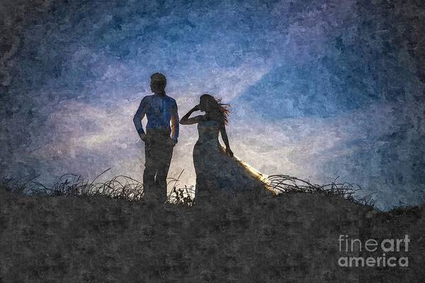 Newlywed Couple After Their Wedding At Sunset, Digital Art Oil P Art Print