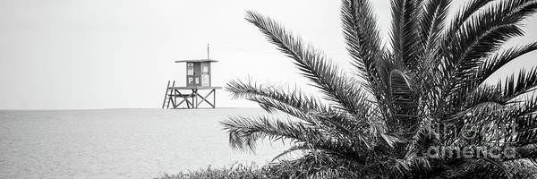 Wall Art - Photograph - Newport Beach Lifeguard Hut P Black And White Panoramic Photo by Paul Velgos