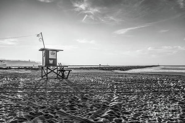 Wall Art - Photograph - Newport Beach Lifeguard Tower W Black And White Photo by Paul Velgos