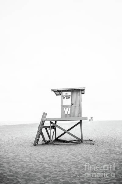 Wall Art - Photograph - Newport Beach Lifeguard Tower W Wedge Black And White Photo by Paul Velgos