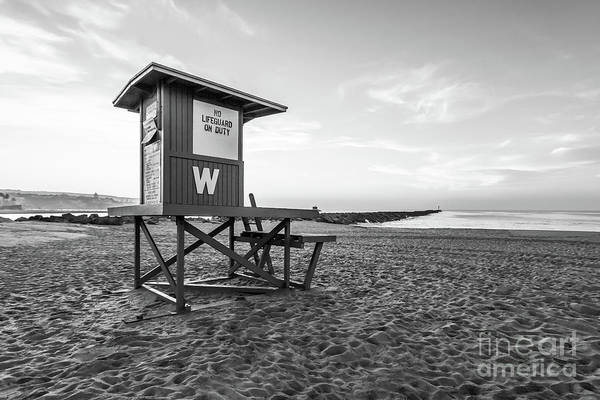Wall Art - Photograph - Newport Beach Wedge Lifeguard Tower W Black And White Photo by Paul Velgos
