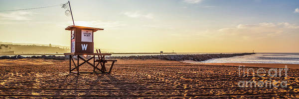 Wall Art - Photograph - Newport Beach Wedge Lifeguard Tower W Sunrise Panorama by Paul Velgos