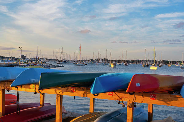 Photograph - Newport Ri King Beach Kayaks Newport Harbor Sunset by Toby McGuire