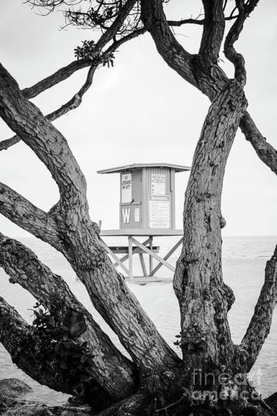 Wall Art - Photograph - Newport Wedge Lifeguard Tower W Black And White Photo by Paul Velgos