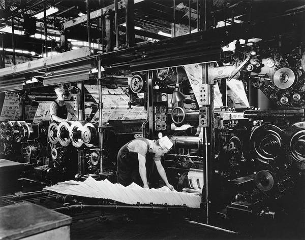 Archival Paper Photograph - Newspaper Factory by Archive Photos