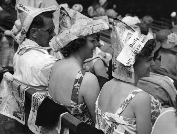 Newspaper Photograph - Newspaper Hats by Fox Photos