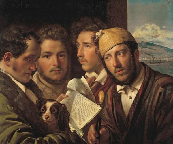 Painting - Newspaper Readers In Naples by Orest Kiprensky