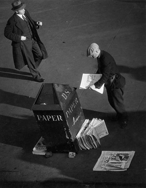 Archival Paper Photograph - Newspaper Vendor by The New York Historical Society