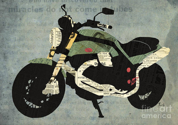 Wall Art - Digital Art - Newspapers Motorcycle Portrait by Drawspots Illustrations